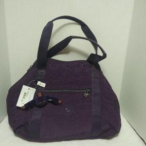 Kipling Art Purple Quilted Handbag